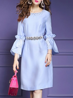 Date Beaded Cocktail Elegant Midi Dress