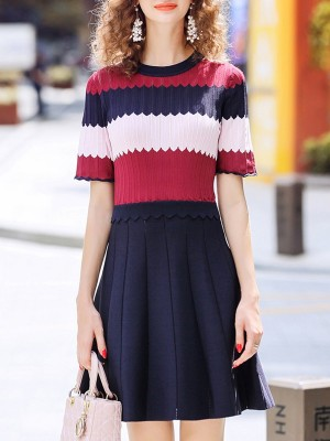 A-Line Paneled Binding Striped Elegant Mini Dress