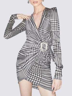 Surplice Neck Draped Casual Houndstooth Mini Dress