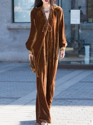 V Neck Coffee Casual Shift Bow Maxi Dress