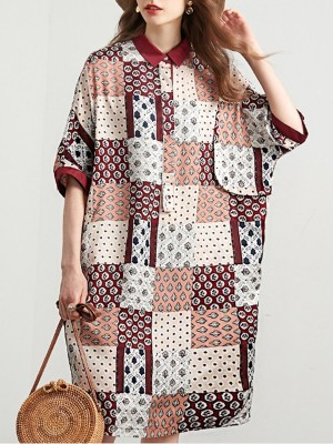 Shirt Collar Patchwork Buttoned Casual Midi Dress