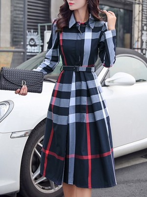Daily Casual Acetate Checkered/Plaid Midi Dress