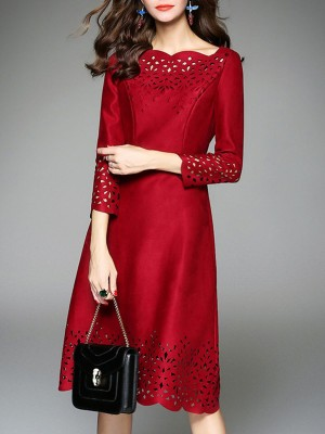 Red Daily Eyelet Elegant Midi Dress