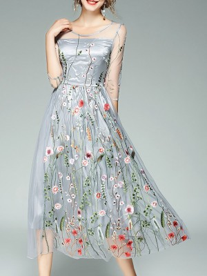 Gray Vintage Party Mesh Floral Evening Midi Dress