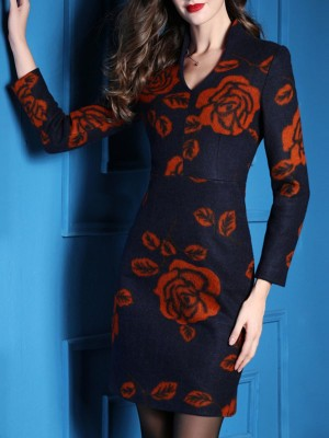 Floral V Neck Zipper Elegant Mini Dress