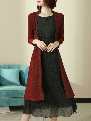 Gathered Paneled Shift Daily Casual Midi Dress