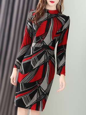 Red Bodycon Work Elegant Midi Dress
