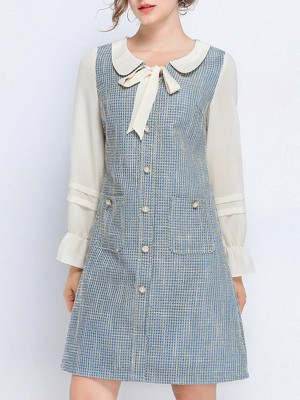 Peter Pan Collar Casual Shift Daily Mini Dress