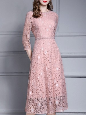 Pink Elegant A-Line Going Out Midi Dress