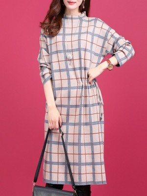 Knitted Checkered Printed Casual Sweater Dress