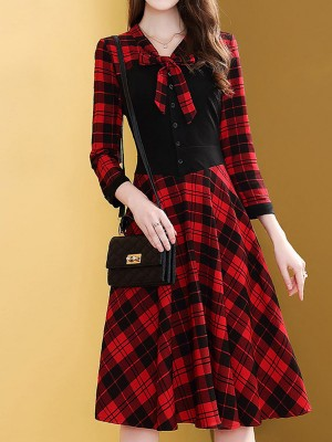 Tie-Neck Checkered Buttoned Elegant Midi Dress
