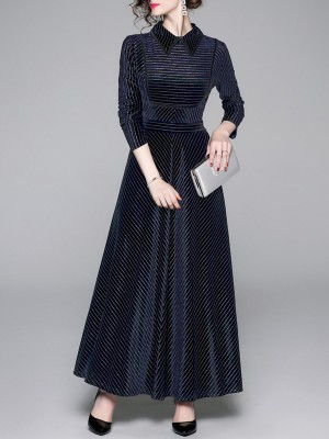 Peter Pan Collar A-Line Going Out Elegant Maxi Dress