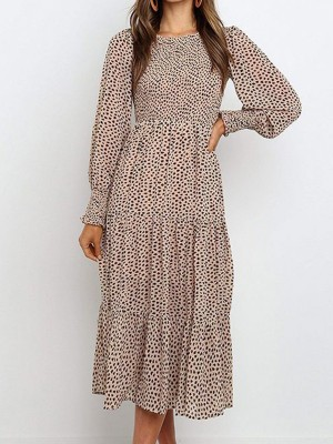 Casual Polka Dots A-Line Midi Dress
