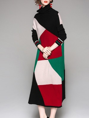 Multicolor Knitted Cowl Neck Casual Sweater Dress