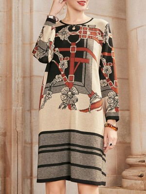 Multicolor Graphic Printed Casual Sweater Dress