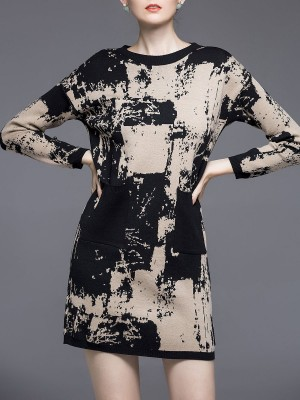 Abstract Knitted Printed Casual Sweater Dress